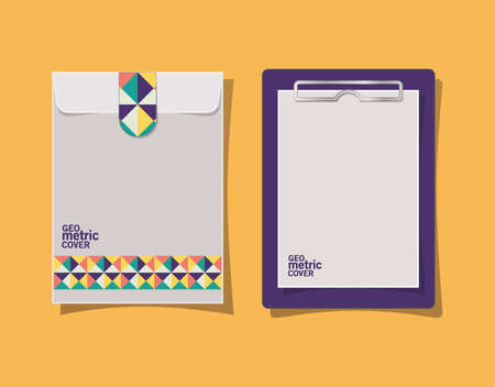 geometric cover clipboard and envelope design of Mockup corporate identity template and branding theme Vector illustration