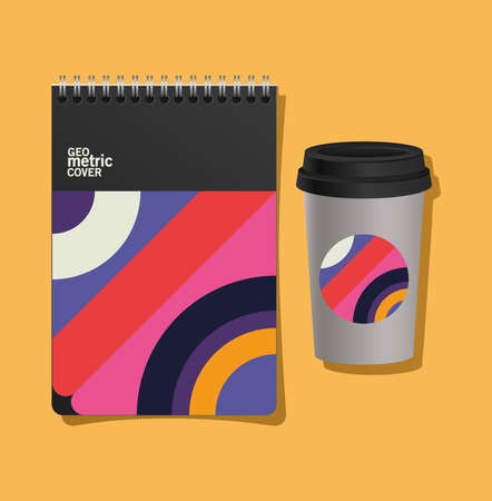 geometric cover notebook and coffee mug design of Mockup corporate identity template and branding theme Vector illustration