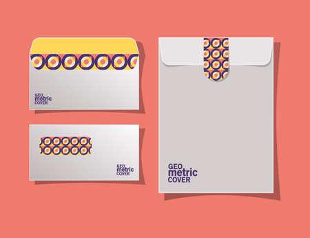 geometric cover envelopes design of Mockup corporate identity template and branding theme Vector illustration 일러스트