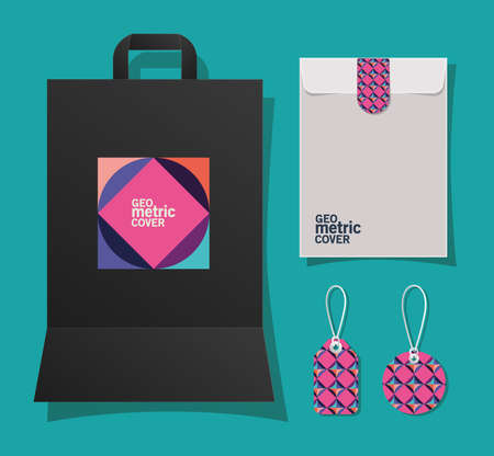 geometric cover bag envelope and labels design of Mockup corporate identity template and branding theme Vector illustration