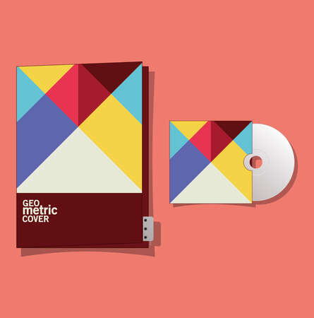 geometric cover file and cd design of Mockup corporate identity template and branding theme Vector illustration