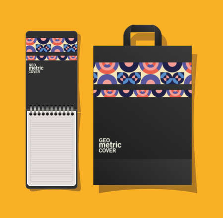 geometric cover notebook and bag design of Mockup corporate identity template and branding theme Vector illustration