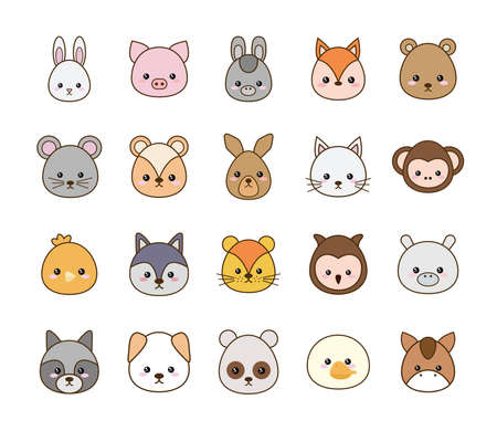 Cute cartoons line and fill style icon set design, Kawaii animals zoo life nature and character theme Vector illustration