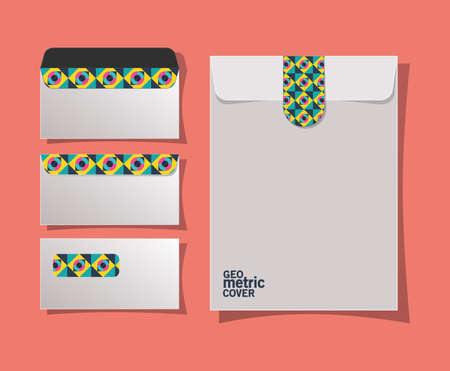 geometric cover envelopes design of Mockup corporate identity template and branding theme Vector illustration 矢量图像