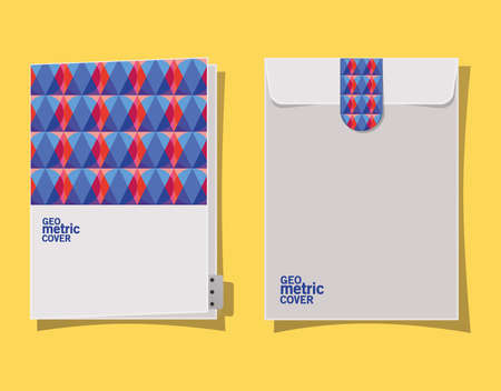 geometric cover file and envelope design of Mockup corporate identity template and branding theme Vector illustration