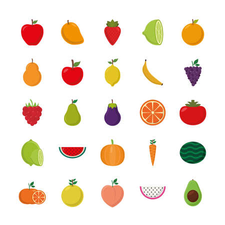 flat style icon set design, Fruits healthy organic food sweet and nature theme Vector illustration Ilustracja
