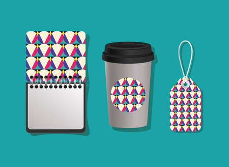 geometric cover notebook coffee mug and label design of Mockup corporate identity template and branding theme Vector illustration