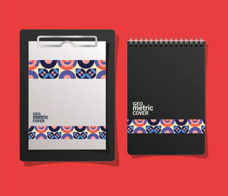 geometric cover notebook and clipboard design of Mockup corporate identity template and branding theme Vector illustration