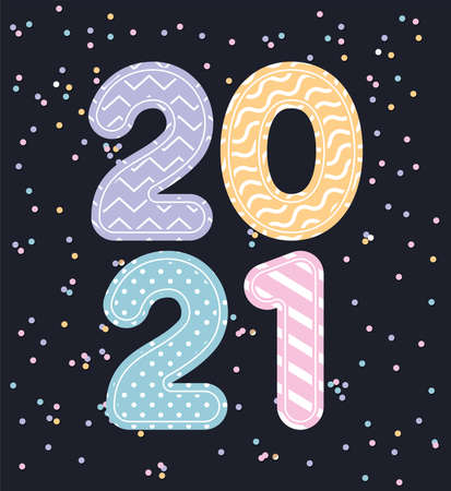Happy new year 2021 with points and zig zag lines and confetti design, Welcome celebrate greeting card happy decorative and celebration theme Vector illustration 矢量图像