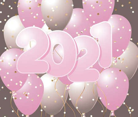 Happy new year 2021 with pink balloons and confetti design, Welcome celebrate greeting card happy decorative and celebration theme Vector illustration 矢量图像