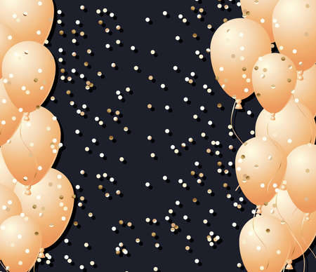 gold balloons frame with confetti in front of black background design, Party celebration and entertainment theme Vector illustration