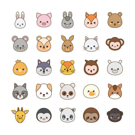 Cute cartoons line and fill style icon set design, animals zoo life nature and character theme Vector illustration