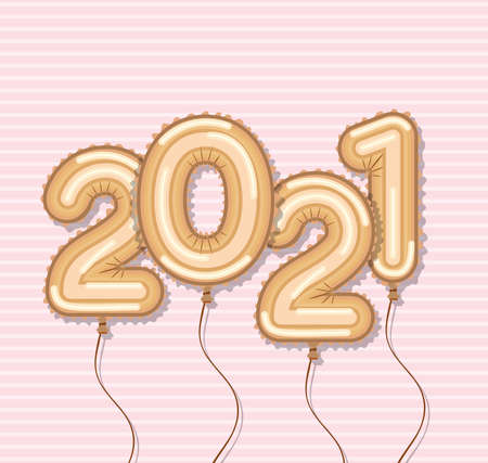 Happy new year 2021 gold balloons design, Welcome celebrate greeting card happy decorative and celebration theme Vector illustration 矢量图像