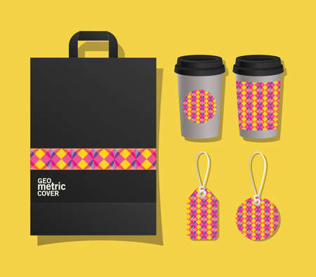 geometric cover bag coffee mugs and labels design of Mockup corporate identity template and branding theme Vector illustration