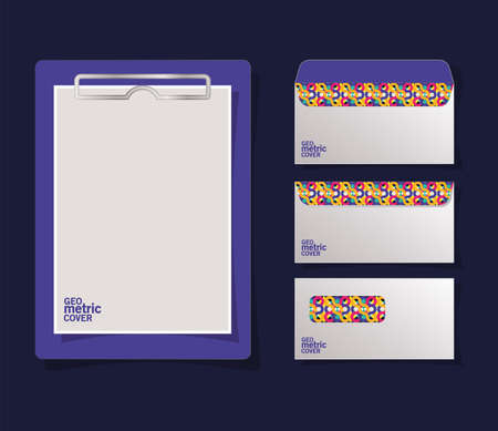 geometric cover clipboard and envelopes design of Mockup corporate identity template and branding theme Vector illustration 矢量图像
