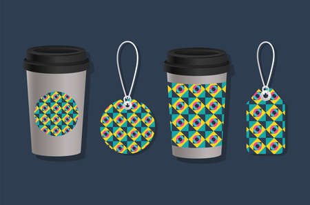 geometric cover coffee mugs and labels design of Mockup corporate identity template and branding theme Vector illustration