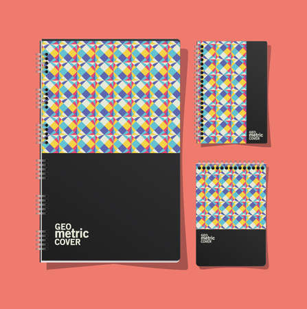geometric cover notebooks design of Mockup corporate identity template and branding theme Vector illustration
