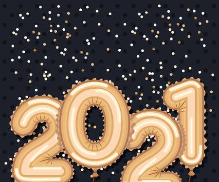 Happy new year 2021 gold balloons with confetti design, Welcome celebrate greeting card happy decorative and celebration theme Vector illustration