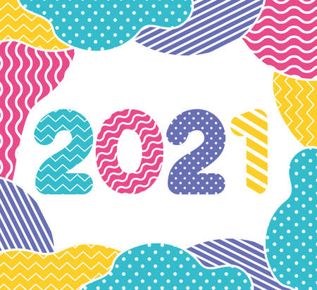 Happy new year 2021 with points and zig zag lines design, Welcome celebrate greeting card happy decorative and celebration theme Vector illustration