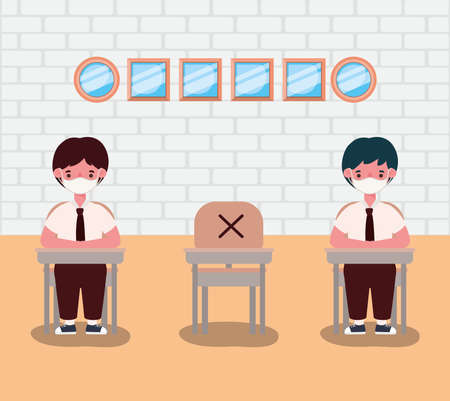 boys kids with uniforms and medical masks at desks design, Back to school and social distancing theme Vector illustration Stock Illustratie