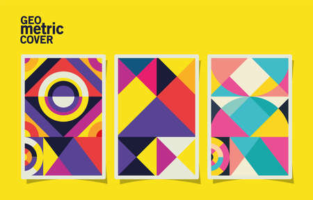 geometric vintage cover and multicolored frames set design, shape and figure theme Vector illustration