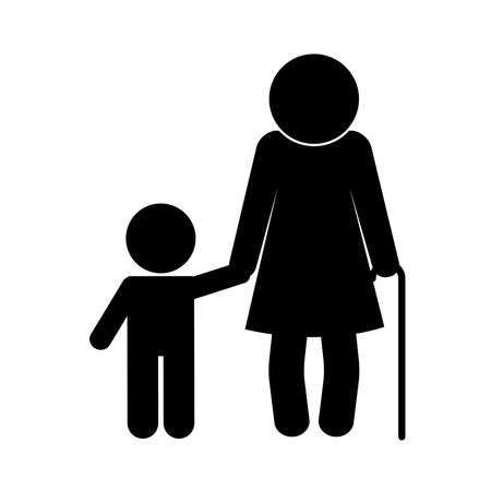 grandmother and grandson avatar silhouette style icon design, Family relationship and generation theme Vector illustration