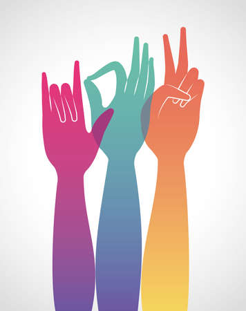 multicolored gradient hands up design of People arm finger person learn communication healthcare theme Vector illustration