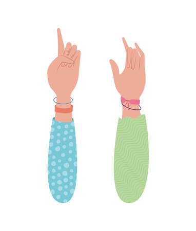 one and rock sign with hand design of People arm finger person learn communication healthcare theme Vector illustration