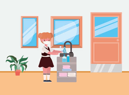Girl kid with uniform and medical mask washing hands design, Back to school and social distancing theme Vector illustration 向量圖像