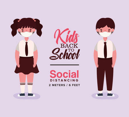 Girl and boy kid with uniform and medical mask design, Back to school and social distancing theme Vector illustration