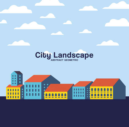 Yellow blue and orange city buildings landscape with clouds design, Abstract geometric architecture and urban theme illustration
