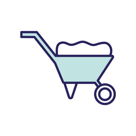 wheelbarrow line and fill style icon design, agronomy lifestyle agriculture harvest rural farming and country theme Vector illustration Vetores