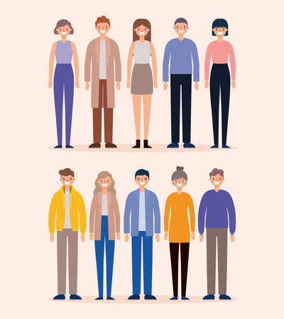 Women and men avatars cartoons smiling design, Person people and human theme Vector illustration Vettoriali