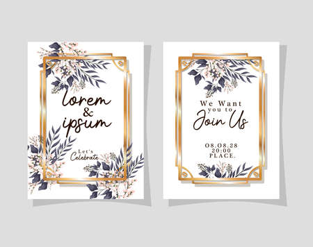 Two wedding invitations with gold frames flowers and leaves design, Save the date and engagement theme Vector illustration Ilustração
