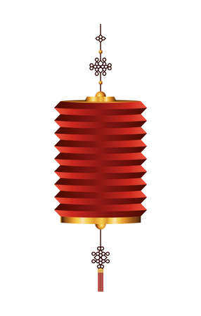 Chinese red with gold lantern design, China culture asia travel landmark famous asian and oriental theme Vector illustration