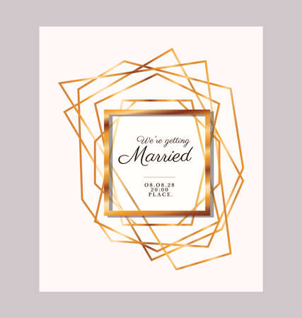 we are getting text in gold frame design, Wedding invitation save the date and engagement theme Vector illustration