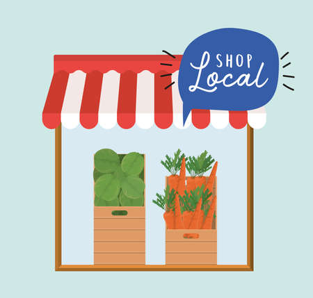 store with vegetables inside boxes and shop local inside bubble design of retail buy and market theme Vector illustration