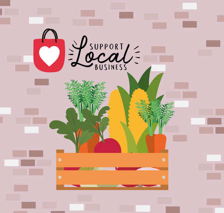 vegetables inside box and support local business design of retail buy and market theme Vector illustration