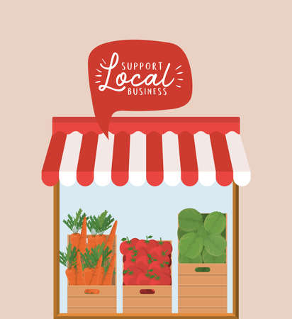 store with vegetables inside boxes and support local business inside bubble design of retail buy and market theme Vector illustration