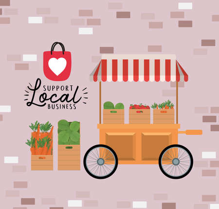 cart with vegetables inside boxes and support local business design of retail buy and market theme Vector illustration