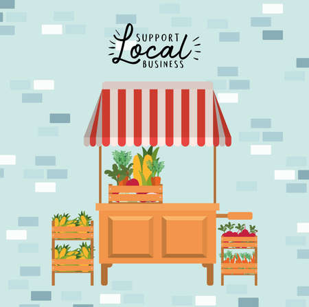 tent with vegetables inside boxes and support local business design of retail buy and market theme Vector illustration