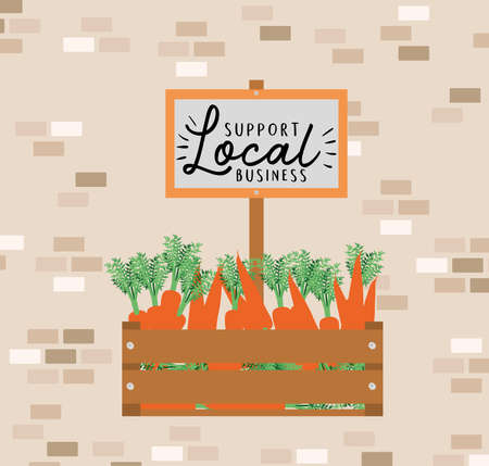 carrots inside wood box and support local business on banner design of retail buy and market theme Vector illustration 向量圖像
