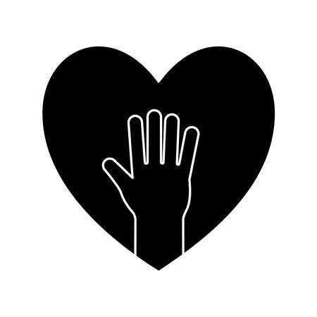 hand in heart silhouette style icon design of Charity and donation theme Vector illustration Stock Illustratie