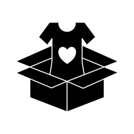 volunteer tshirt inside box silhouette style icon design of Charity and donation theme Vector illustration
