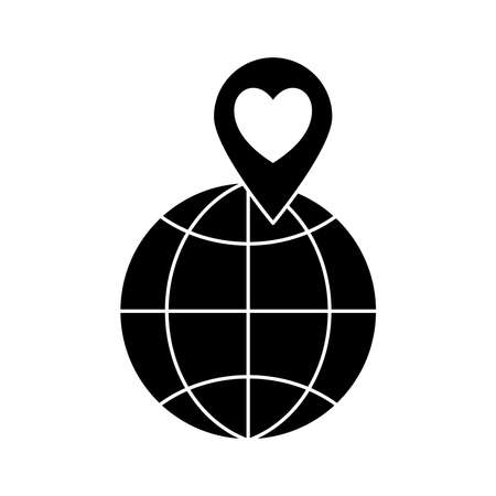 global sphere with heart in gps mark silhouette style icon design of Charity and donation theme Vector illustration Stock Illustratie