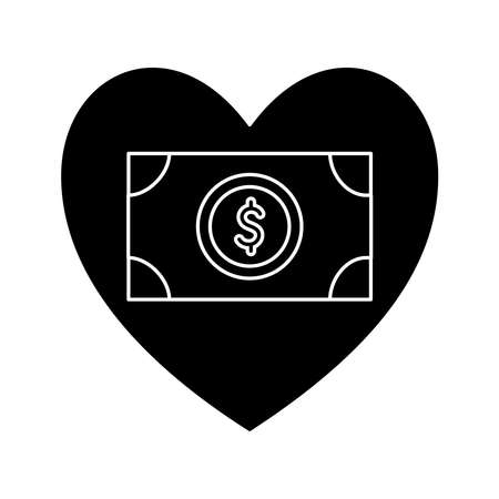 bill in heart silhouette style icon design of Charity and donation theme Vector illustration