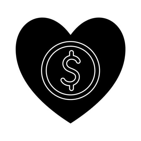 coin in heart silhouette style icon design of Charity and donation theme Vector illustration