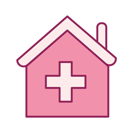 house with cross line and fill style icon design of Charity and donation theme Vector illustration Stock Illustratie