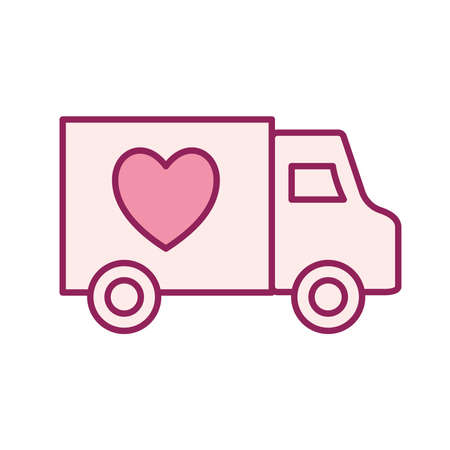truck with heart line and fill style icon design of Charity and donation theme Vector illustration Stock Illustratie