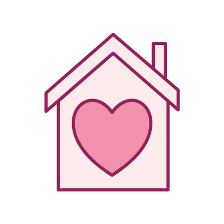 heart in house line and fill style icon design of Charity and donation theme Vector illustration